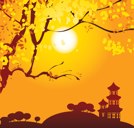yellow landscape: Chinese landscape with branches of blooming tree with yellow flowers and pagoda