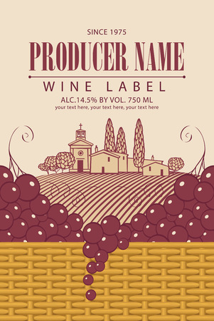 shop sign: Vintage wine label with grape bunch and vine in a basket