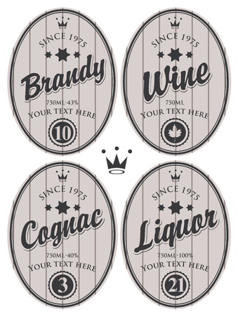 grey: set of oval labels for brandy, cognac, wine, liquor on a gray background, striped with crown Illustration