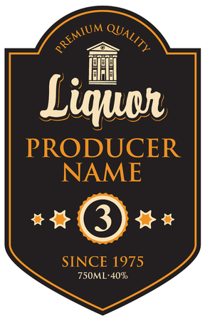 whiskey bottle: black label for liqueur in frame with building in retro style Illustration