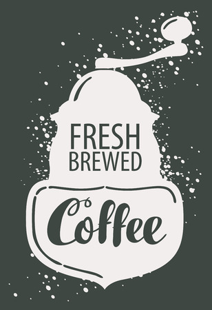 overlays: Vector banner with image of pointer, coffee grinder and hand lettering in retro style