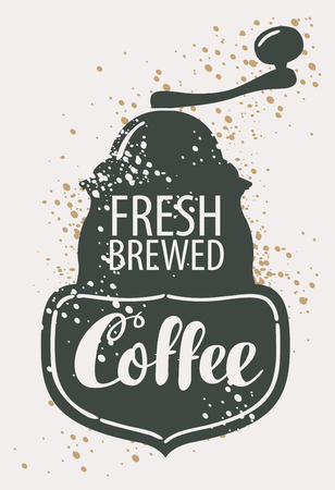 building: Vector banner with image of pointer, coffee grinder and hand lettering in retro style