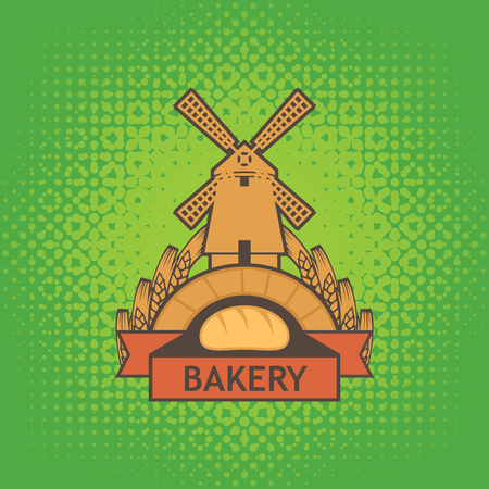 Vector banner for a bakery shop with a picture of the windmill, baguette and ears of wheat on the green background of textile
