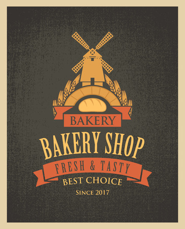 Vector banner for a bakery shop with a picture of the windmill, baguette and ears of wheat on the pattern of sacking