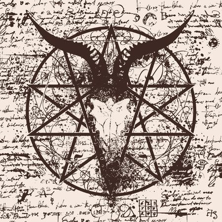 illustration vectorielle avec le crâne de chèvre et pentagramme avec des touches sur le fond du vieux papyrus avec des inscriptions et des symboles magiques