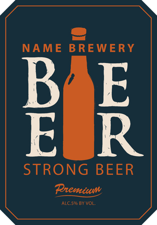 plant to drink: Template vector strong beer label with a picture of the bottle Illustration