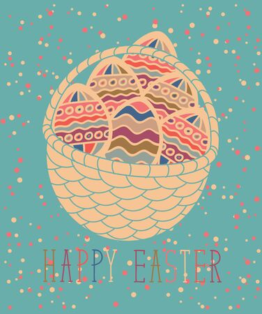 festive: vector greeting card with Easter eggs in the basket