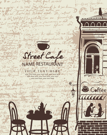 sidewalk cafe: Banner for a street cafe with the facade of the old building and furniture in the background.