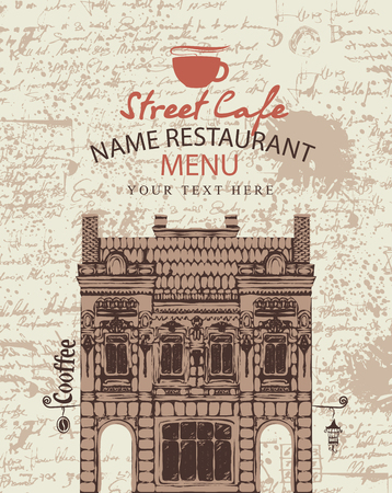 building bricks: Cover menu for a street cafe with the facade of the old building on the background.