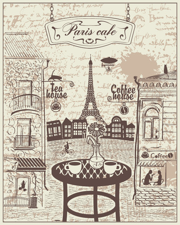 Parisian street cafe with views of the Eiffel Tower and old buildings on the background. Illustration
