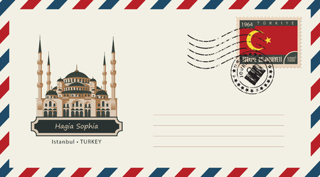 hagia sophia: An envelope with a postage stamp with Istanbul Hagia Sophia, and the flag of Turkey