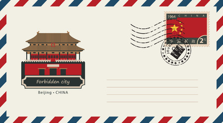 city building: An envelope with a postage stamp with Beijing Forbidden city, and the flag of China Illustration