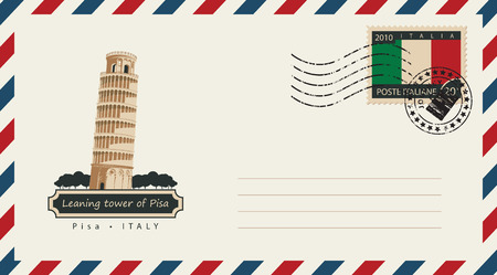 An envelope with a postage stamp with leaning tower of Pisa, and the flag of Italy Illustration