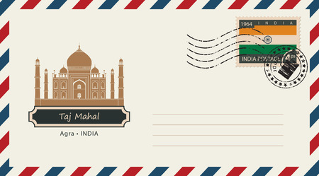 mausoleum: An envelope with a postage stamp with Taj Mahal, and the flag of India Illustration
