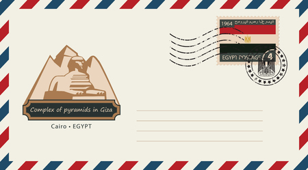 cheops: An envelope with a postage stamp with complex of pyramids in Giza, and the flag of Egypt
