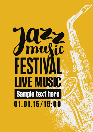 Template Poster for jazz festival live music with a saxophone Illustration