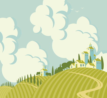 midday: spring landscape with Village on the hills and sky with clouds Illustration