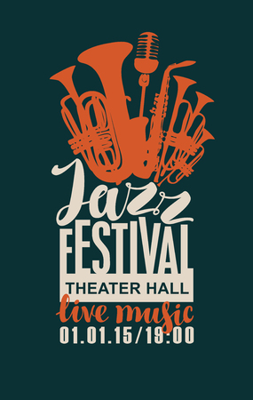 Template Poster for jazz festival with saxophone, wind instruments and a microphone Illustration