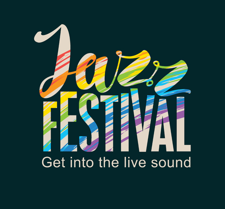famous people: Template Poster for jazz festival with rainbow colors text