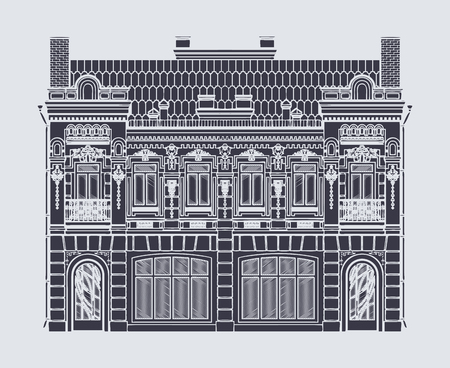 construction: vector drawing two-storey old building in baroque style