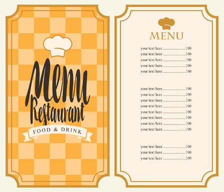 menu restaurant: Vector restaurant menu template with price list and toque on a checkered background