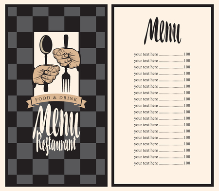 silver background: Vector restaurant menu template with price, hands and utensils on the chess background