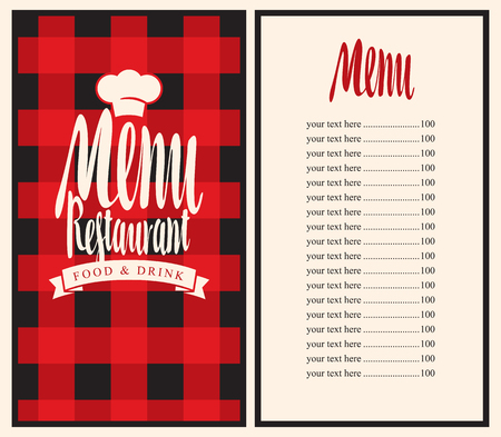 Vector Restaurant Menu Template With Price List And Toque On A Checkered  Background Vector