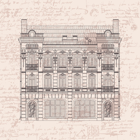 real: vector drawing of a three-story historic building in the Baroque style on the background of the manuscript