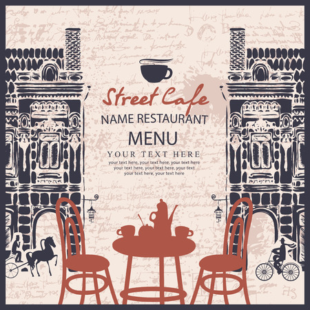 sugarbowl: Menu for sidewalk street cafe with table and old architecture on the background of the manuscript