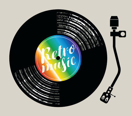 music player: Vector poster for the retro music with vinyl record and record player