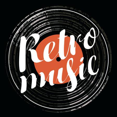 popular: Vector poster for the retro music with vinyl record
