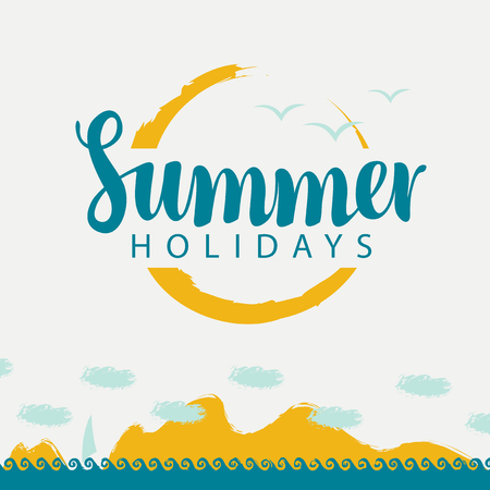 beach sunset: Artistic Vector banner with sea, mountains, sailboat and the inscription summer holidays. Illustration