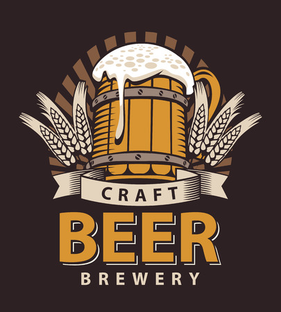 Artistic Vector logo for a pub or a brewery with wooden mug of beer in the brown color Illustration