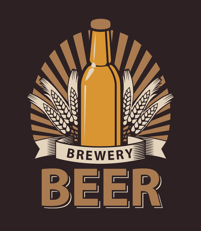 Creative Vector logo for a pub or a brewery with a bottle of beer in the brown color. Illustration