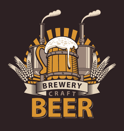 Artistic Vector logo for a pub or a brewery with wooden mug of beer and brewing machine
