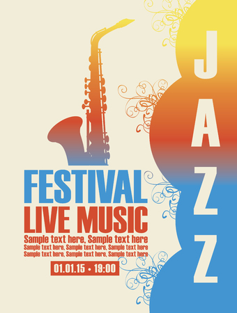 Illustration Vector poster for a jazz festival live music with a picture of a saxophone with the colors of the sunset.