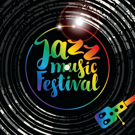 popular: Poster for the jazz music festival with vinyl record, record player and multicolor lettering. Illustration