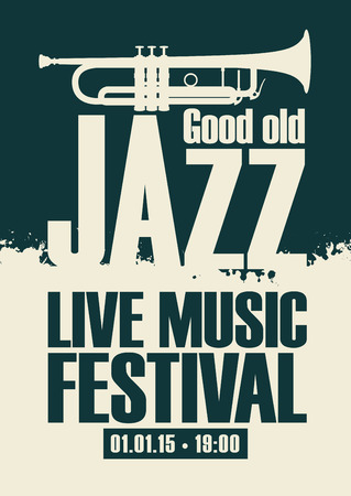 popular: vector poster for the jazz festival live music with a trumpet