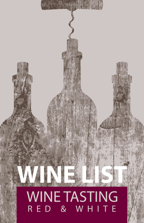 vector wine list for wine tasting patterned bottles with corkscrew on the background of a wooden board texture