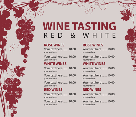 wood texture: vector menu for wine tasting with price and bunch of red grapes