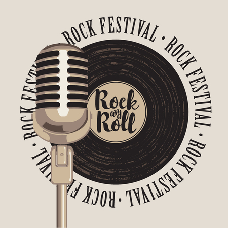 music: banner with a vinyl record, microphone, inscription rock-n-roll and the words rock festival, written around Illustration