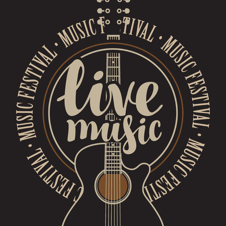 banner with acoustic guitar, inscription live music and the words music festival, written around  イラスト・ベクター素材