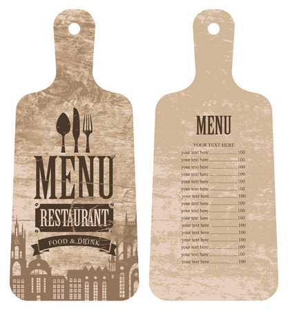menu for the restaurant with price list in the form of wooden cutting board with a picture of the old town and cutlery