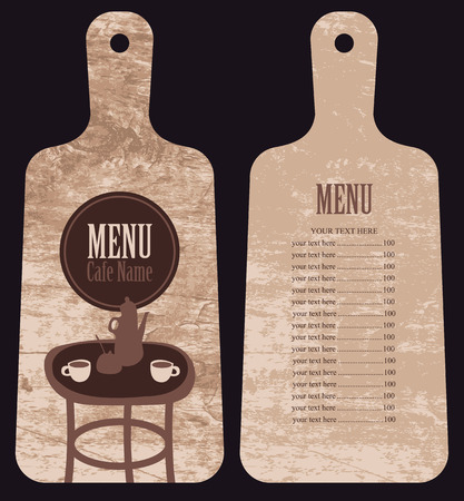 sugarbowl: menu for the cafe with price list in the form of wooden cutting board with served table