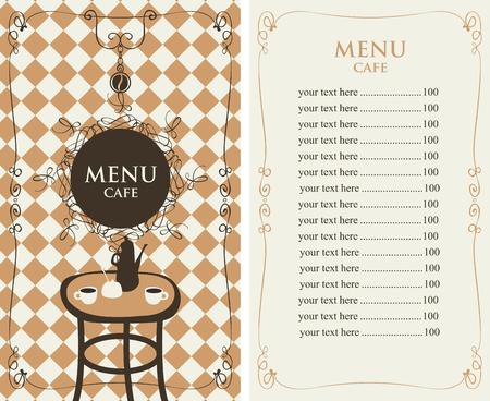 cafe menu: Vector menu template for a cafe with price list and served table on the background of tablecloth with the cell Illustration