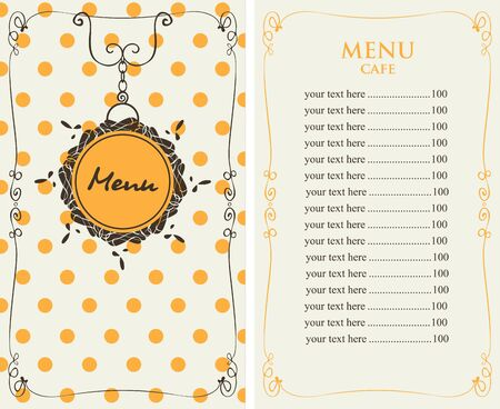 food: template menu for the cafe with price list on the background of tablecloth with yellow polka dot