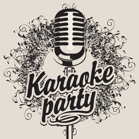 music: Vector Banner with microphone and inscription karaoke party on the art background