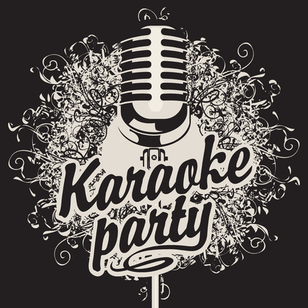 vector art: Vector Banner with microphone and inscription karaoke party on the art background