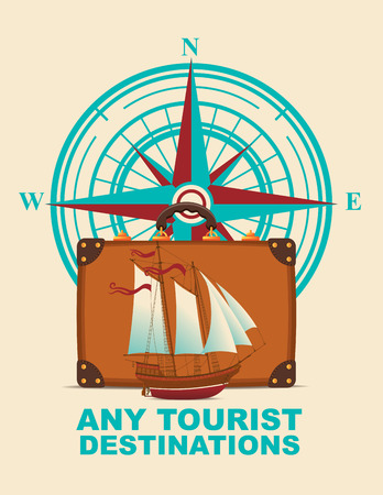 discount banner: Vector banner with a suitcase, sailboat on a tourist theme against the backdrop of the compass windrose. Illustration