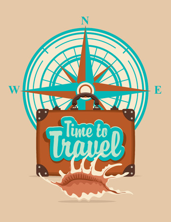 Vector banner with a suitcase, seashell on a tourist theme against the backdrop of the compass windrose, the inscriptions time to travel.